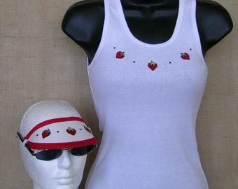 Strawberry T-shirt, Strawberry Visor, Strawberry Tank, Visor, No Headache Visor, Strawberries, Rhinestones