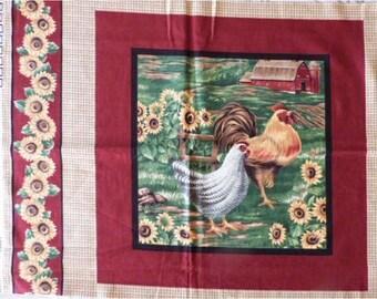 Fabric cotton pillows ROOSTER hen sunflower sticker