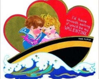 Vintage Boy and Girl In Boat Smooth Sailing Valentine's Day Card