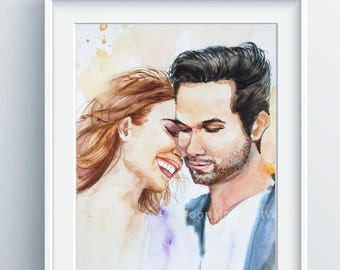 father's day gift, Custom Portrait, wedding gift, Personalized anniversary gift, couple portrait, original watercolor, engagement gift