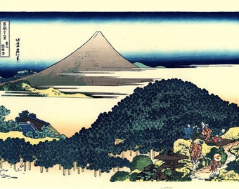 "Japanese Ukiyo-e Woodblock print, Katsushika Hokusai, ""The Circular Pine Trees of Aoyama, Thirty-six Views of Mount Fuji"""