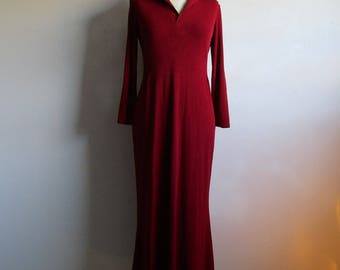 80s COMRAGS Jersey Dress Vintage Burgundy Polo Style 1980s Canadian Designer Day Wear SM