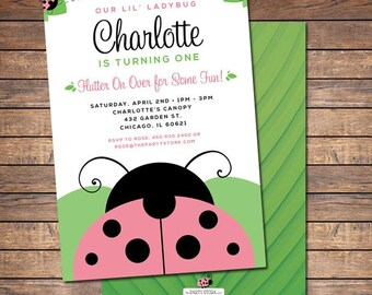 Ladybug Invitation / Printable Pink Ladybug Invite / 1st Birthday Ladybug Invitations / Girls Birthday Party Invites