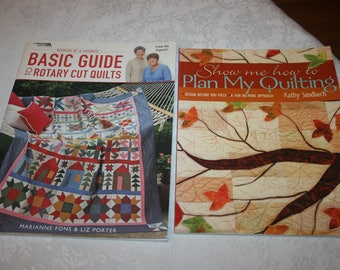 Two 2 Large Soft Cover Books, Basic Guide to Rotary Cut Quilts & Plan My Quilting, Quilting, Quilt, Sew, Sewing Instructions