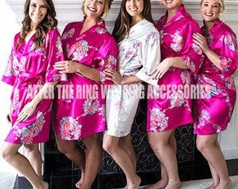 Floral Bridesmaid Robe, Bridal Satin Robe, Kimono Robe, Bridal Shower, Silk Robe, Getting Ready Robes, Wedding Robes, Bridesmaid Gifts