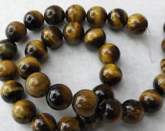 20 10 mm brown beige natural Tiger eye beads