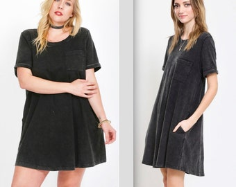 Fit & Flair Acid Washed Cotton Pocket Dress - PLUS SIZE TOO!!
