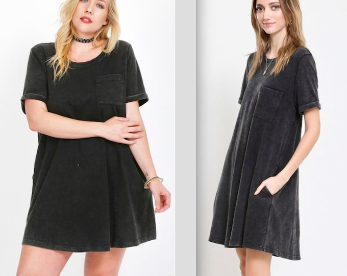 Featured listing image: Fit & Flair Acid Washed Cotton Pocket Dress - PLUS SIZE TOO!!
