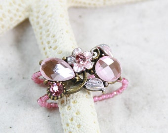 PINK FLOWER Beaded toe ring Stretchy toe rings Big Toe Ring