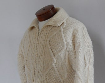 Vintage Men's Natural Cream Wool Chunky Sweater Large L Zip Front Cardigan Cable Knit Wool Hand Knit in Equador Long Sleeve Collar