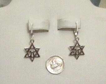 Tibet Silver Star of David Clip on or Pierced Earrings