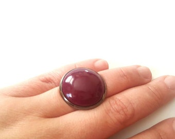 Deep Burgundy Glass Dome Ring, 25mm Glass Dome, Adjustable Rings, Gunmetal adjustable ring base,  Hand painted