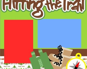 Scrapbook Page Kit Hiking/hitting the trail Premade Scrapbook Pages 2-page 12X12 Scrapbook Page Kit or Premade Layout