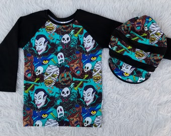 Halloween Boys Set Halloween Shirt Slouchy Beanie Boys Winter Clothes Boy Fall Clothes Trendy Hipster Outfit Vampire Skulls Werewolves Teal