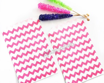 Chevron Pink Favor Bag | Pink Chevron bag (5x7) | Pink Candy Bags | Baby Shower Favor Bags | Glam Baby Shower | Boho Chic Baby Shower