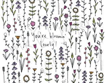 Bloomin' Lovely Card - Thank You Card - Friendship Card - Flower Card - Floral Card