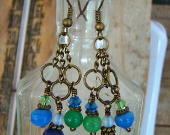 Dangle Chandelier Earrings Blues Jade Antique Bronze     1.99 Shipping USA