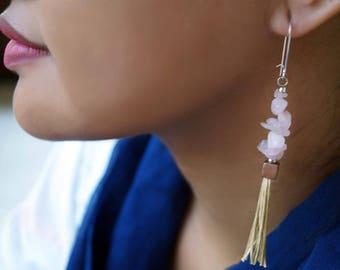 Rose Quartz Tassel Earrings, Pinkish Earrings, Gemstone  Earrings, Long Earrings, 1 Pair