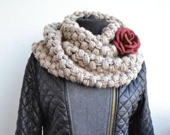 Infinity Scarf Gray Crochet Scarf Chunky Scarf Hand Crochet Scarf Winter Knit Scarf Women Scarf Cowl Circle Scarf Christmas Women Gift