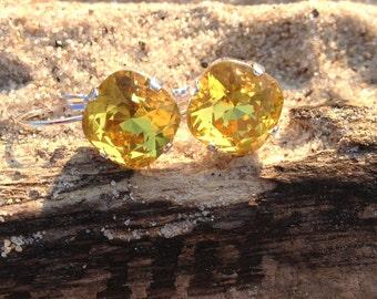 Golf size 12mm square for Swarovski Crystal Earring Sunflower