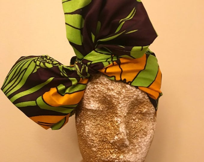 Brown with Lime Green and Orange Daisies Kuchena Head Wrap