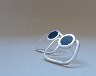 Inky Blue Stud Earrings  - Square Studs - Resin Earrings - Minimalist Hoops - Gift for Good Friend - Pop Outline Studs