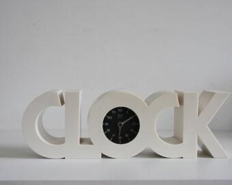 Clock Retro 70s Alarm Collectable Black White Space Age Era design panton plastics