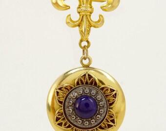 Vintage Freirich Locket Pendant Brooch Fleur De Lis Victorian Revival