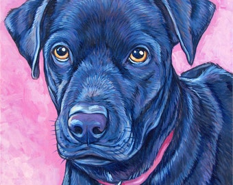 """10"""" x 10"""" Custom Pet Portrait Painting in Acrylic on Canvas of One Dog, Cat, or Other Animal, Gift Certificate available for Christmas Day"""