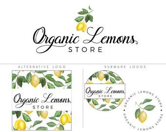 Lemon logo, Lemon logo design and watermark, Lemon branding package, Citrus logo, Lemon business logo, Mini branding kit, Circular logo