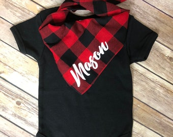 Buffalo Check Plaid / Custom / Baby Bandana / Red and Black / Baby Gift / Baby Name