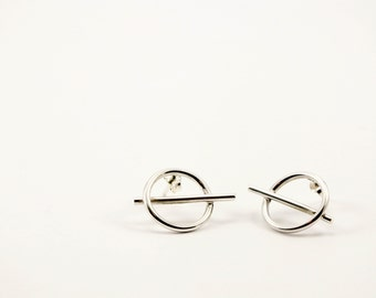 Circle-Bar Sterling Silver Earrings