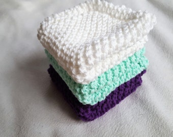 Knit Dish Cloths, Knitted Wash Cloths, Set of 3 Purple Mint White, Gift For Her