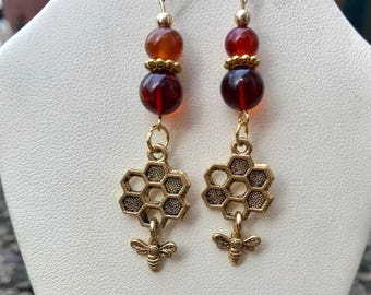 Honey Bee Earrings with Genuine Amber