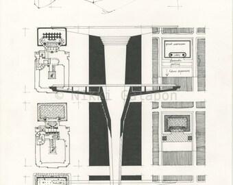 "Frank Lloyd Wright's Johnson Wax Headquarters Study: Archival print of original architectural pen drawing 11""x16"""