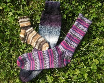 Family socks PDF Instructional knitting pattern in 4 sizes with 3 cuff/leg options