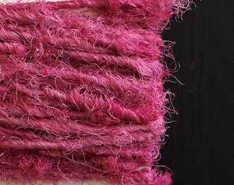 Fuzzy Bright Pink, Naturally Dyed Silk Yarn, 5 yards ea.
