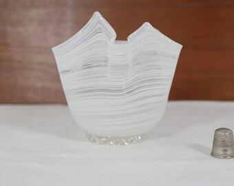 "Glass vase ""handkerchief"" vase in white from Italy. 50s, 60s"