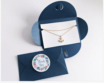 Chain Anchor GOLD, BLUE Packaging, Thank You, Anchor necklace gold