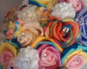 Rainbow rose bridal bouquet
