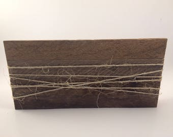Barn wood edges with burlap twine for photo holder shelf sitter tabletop