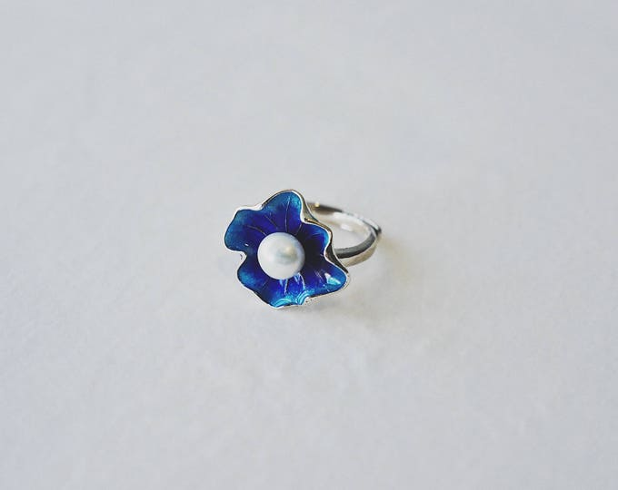 Lotus leaf and floral, colour enamels, fresh water pearl, 925 silver, handmade, open ring