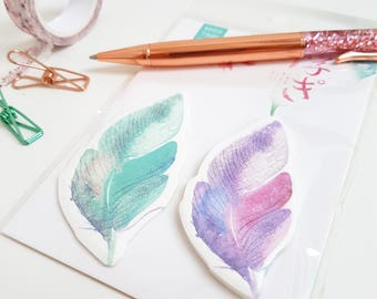 Pretty Watercolour Feather Sticky Notes- Blue and Purple