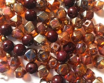 4mm to 10mm Dark Red, Gold Czech Glass Bead Mix