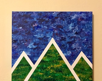 Geometric Hills. Abstract Mountains. Contrasting abstract original art. Home decor. Painting. 12x12.