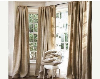 ON SALE 100 % Natural Jute Burlap Panel Drape Backdrop Window Curtains - Made in USA