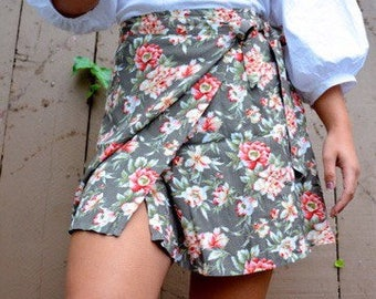 90s Express floral wrap skirt size S M