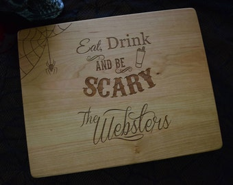 "Halloween Engraved Cutting Board  personalized cutting board 12x9""x.75""   Chopping Board   Halloween Wedding Gift"