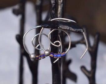 Spiral Hoop Trade Beads & Balll (Sterling Silver)