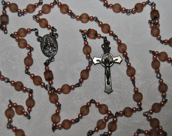 Frosted Glass Peach Rosary
